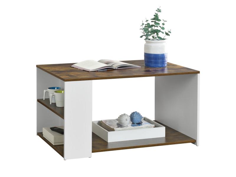 Table basse pour salon meuble stylé avec compartiment de stockage sur côté et en bas en panneau de particules mélaminé 48 x 90 x 59 cm blanc chêne foncé [en.casa]