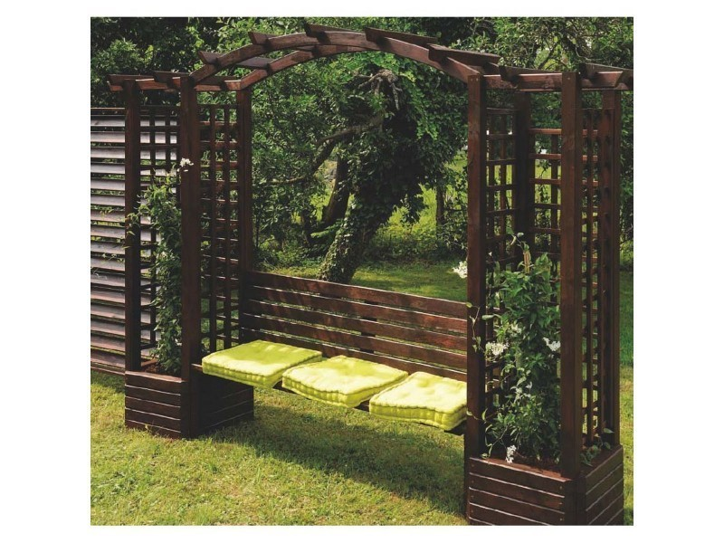 pergola en bois avec banc florence b 0321118 vente de burger conforama. Black Bedroom Furniture Sets. Home Design Ideas