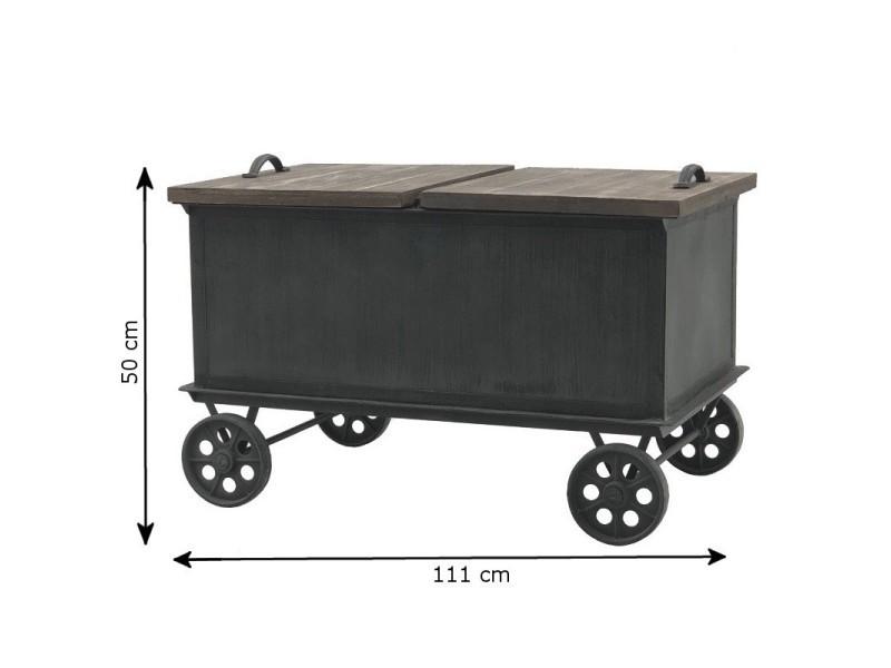 Style ancienne grande table basse coffre à roulettes 111 cm x 65 cm 14007-Table-Basse