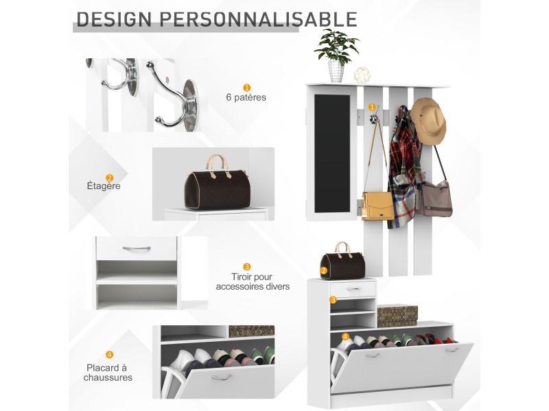 Homcom Ensemble de Meubles dentr/ée Design Contemporain Miroir et Panneau Porte-Manteau Panneaux de Particules Blanc Meuble Chaussures