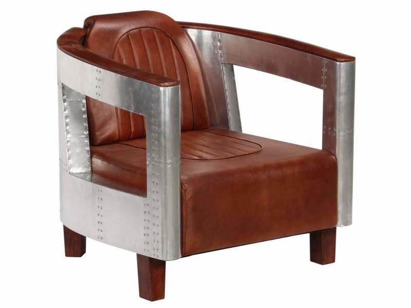 Fauteuil chaise siège lounge design club sofa salon en style d'aviation marron cuir véritable helloshop26 1102180/3