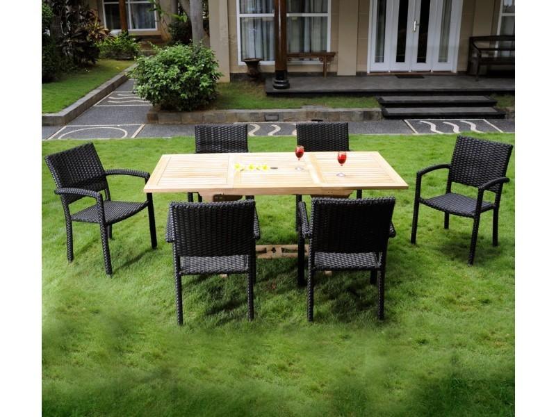 Salon de jardin en teck avec 6 chaises résine pour 6-8 ...