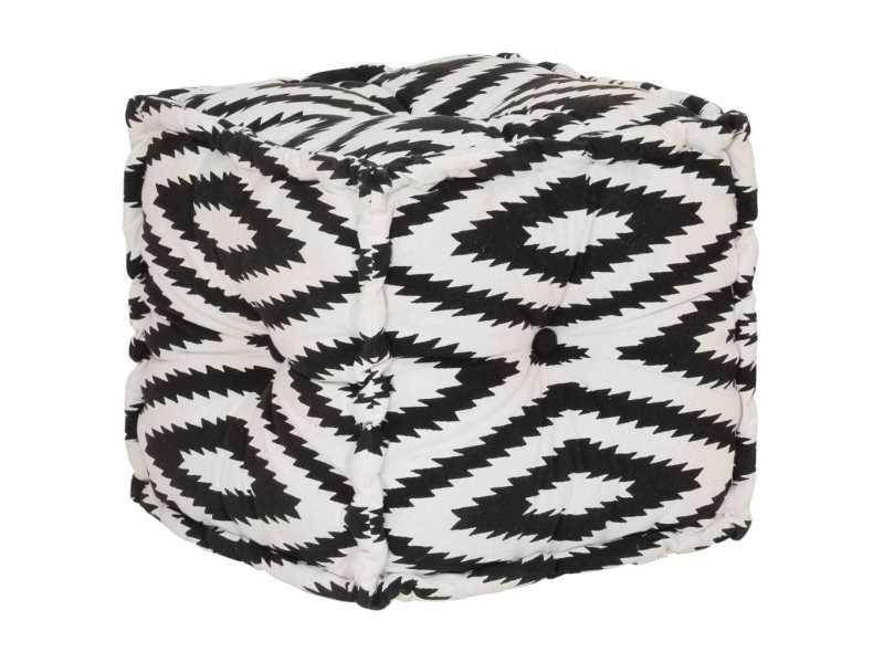Inedit meubles serie ljubljana pouf cube en coton motif fait à la main 40x40 cm noir et blanc
