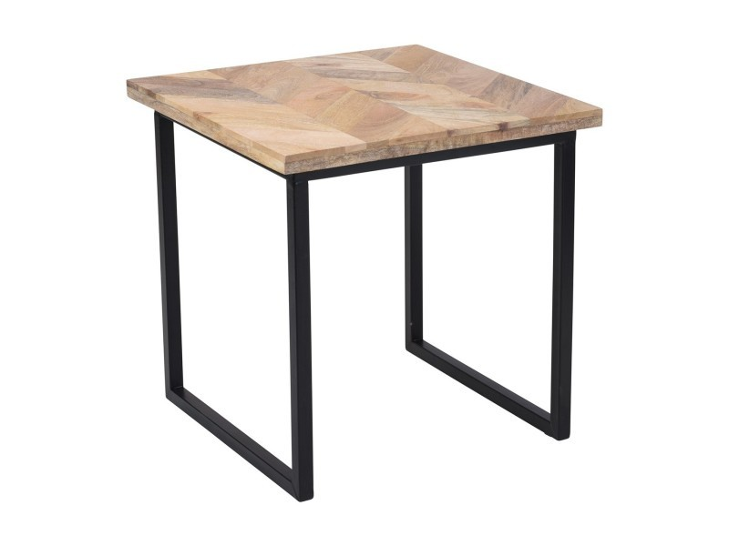 Table basse style industriel en bois de mangue