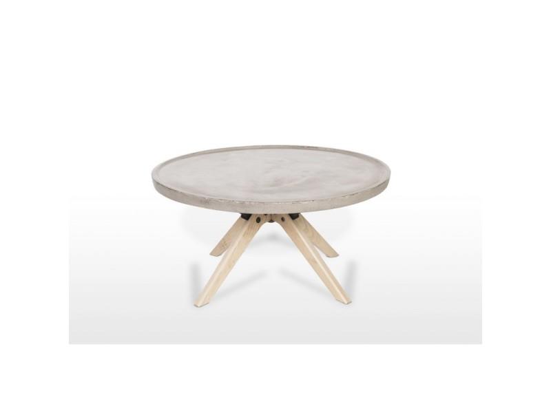 Table basse en béton et bois décor chêne style industriel - grey