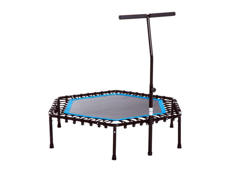 Trampoline de fitness / gymnastique haute performance ø 114 cm élastiques bungee + guidon hauteur réglable 98-114 cm bleu noir