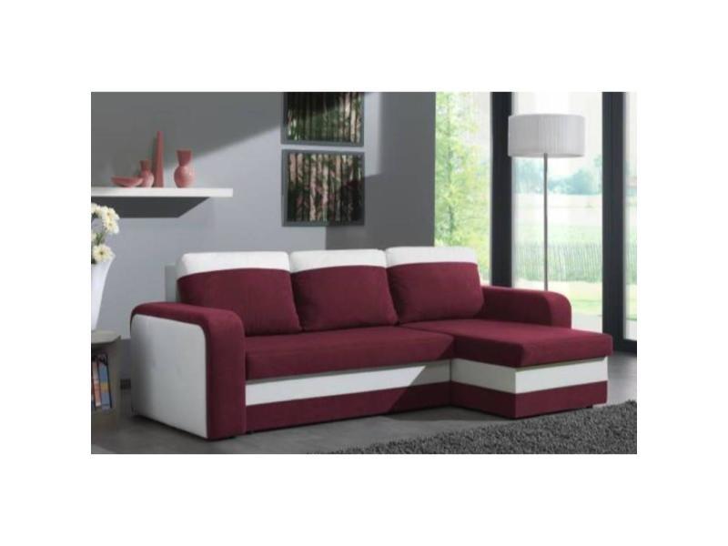 Canapé d'angle convertible nyx 140cm bi-matière prune et blanc 20100865617