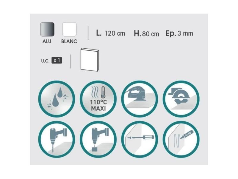 Credence - accessoire credence - fond de hotte plaque composite - aluminium - 80 x 120 cm 3/0,15 mm - blanc