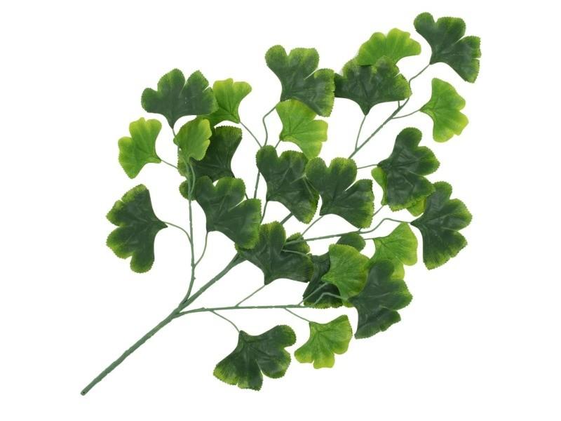 Vidaxl 10 pcs feuilles artificielles de ginkgo vert 65 cm 280131