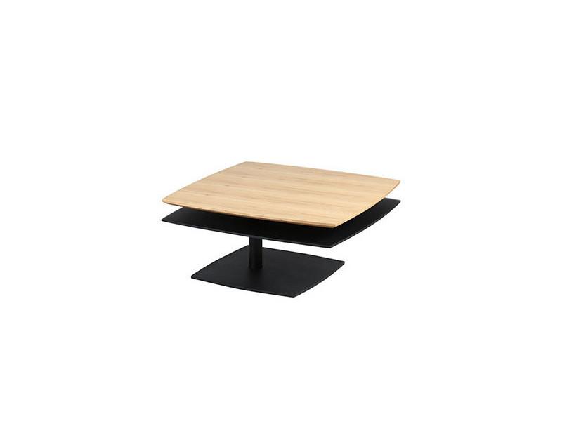 Table basse carrée double plateau bois et noir