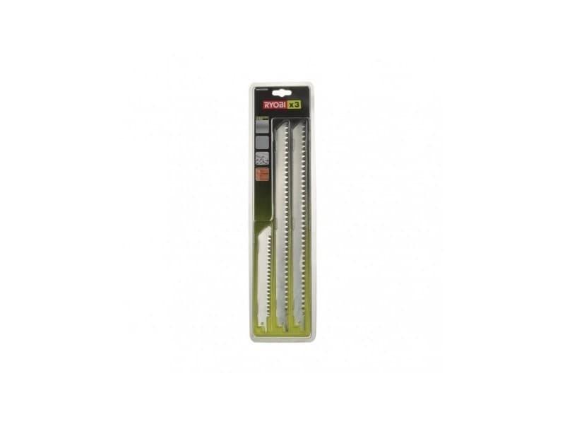Blister 3 lames acier inox grande longueur 300 & 152 mm bois / plastique / emmanchement universel scie sabre