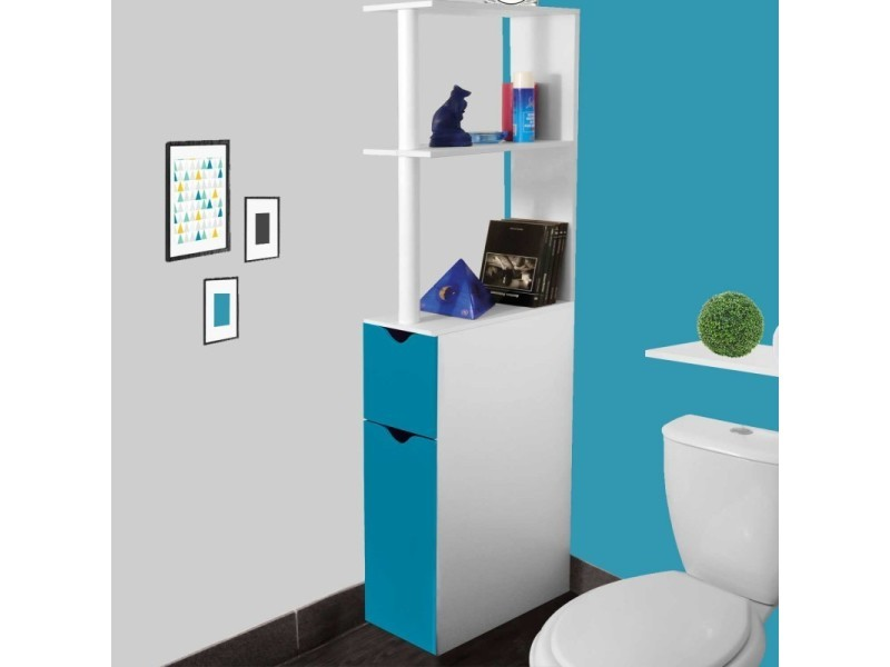 meuble wc tag re bois gain de place pour toilette 2 portes bleues vente de id market conforama. Black Bedroom Furniture Sets. Home Design Ideas