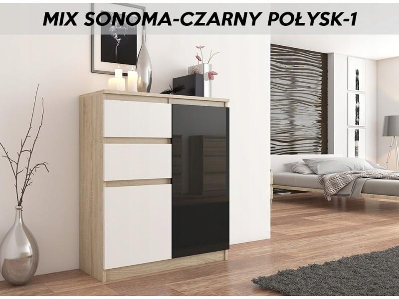 Lisbon s3 | commode contemporaine chambre/salon/bureau | 98x80x40cm | rangement 2 tiroirs/2 portes | buffet style moderne | sonoma/blanc/noir laqué
