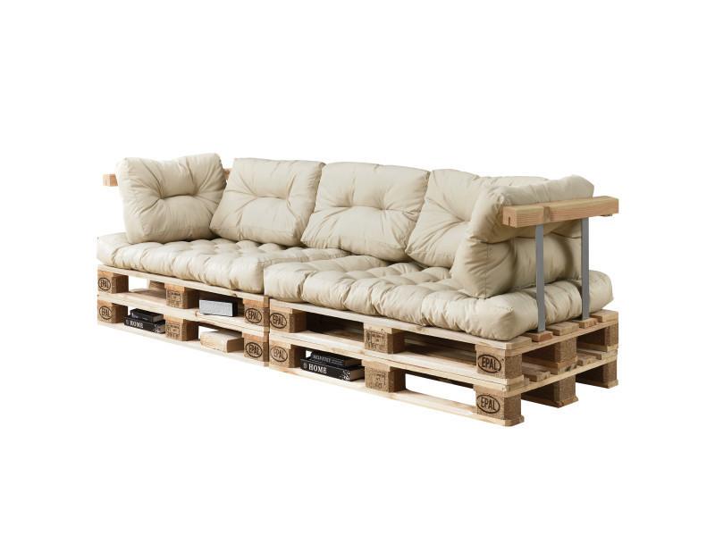 [en.casa] canapé de palette euro- 3-siège avec coussins- [crème] kit complète incl. Dossier et appuie-bras
