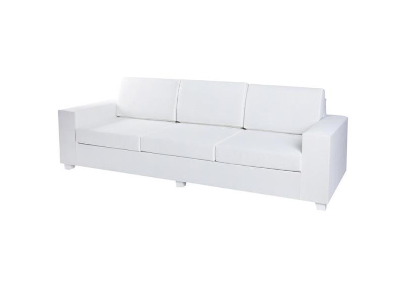 Canapé d'extérieur 3 places textilène blanc - belitung - l 250 x l 88 x h 70 - neuf