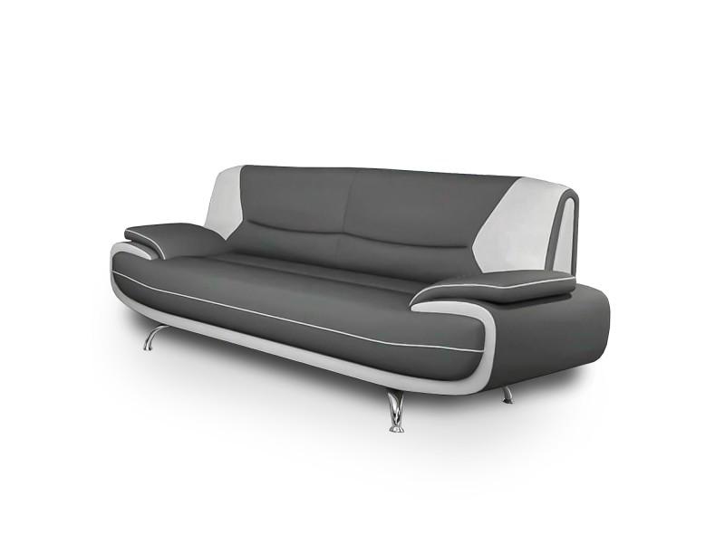 Muza - canapé design 3 places en simili cuir gris et blanc