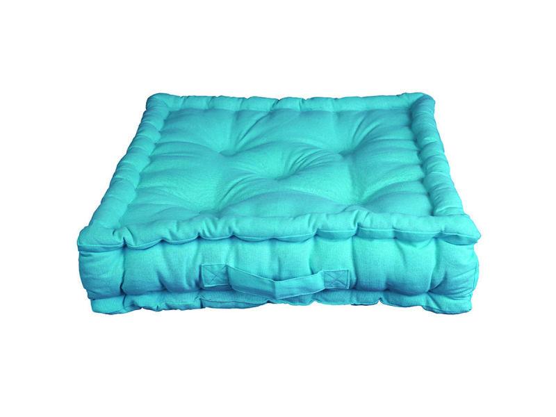 Coussin de sol pacifique turquoise 100% coton