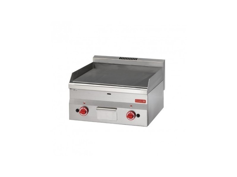 Plancha professionnelle lisse gaz - 600x600 mm - gastro m - inox 600
