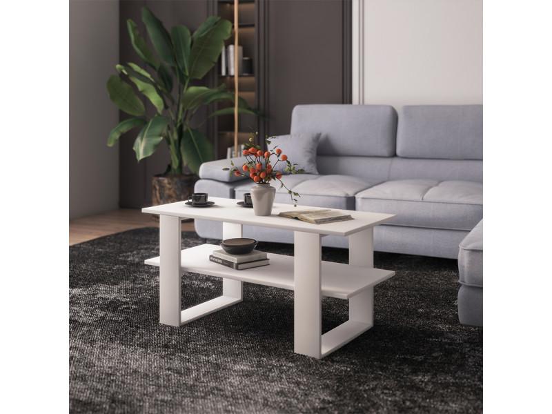 Table basse - bermer - 120x55 cm - blanc - style scandinave