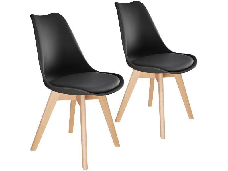 Tectake 2 chaises de salle à manger frédérique style scandinave pieds en bois massif design moderne - noir 403811
