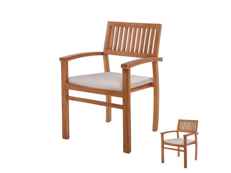 Duo de fauteuils en bois de teck - bintan - l 57 x l 54 x h 90 - neuf