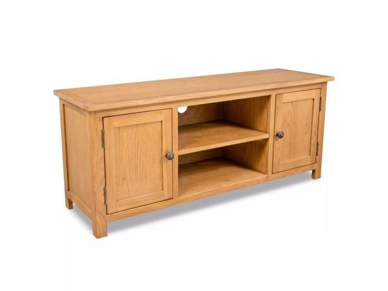 Meuble télé buffet tv télévision design pratique 120 cm bois de chêne massif helloshop26 2502064