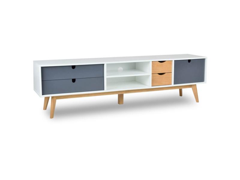 Bobochic meuble tv 180 cm nils blanc, noir et bois clair
