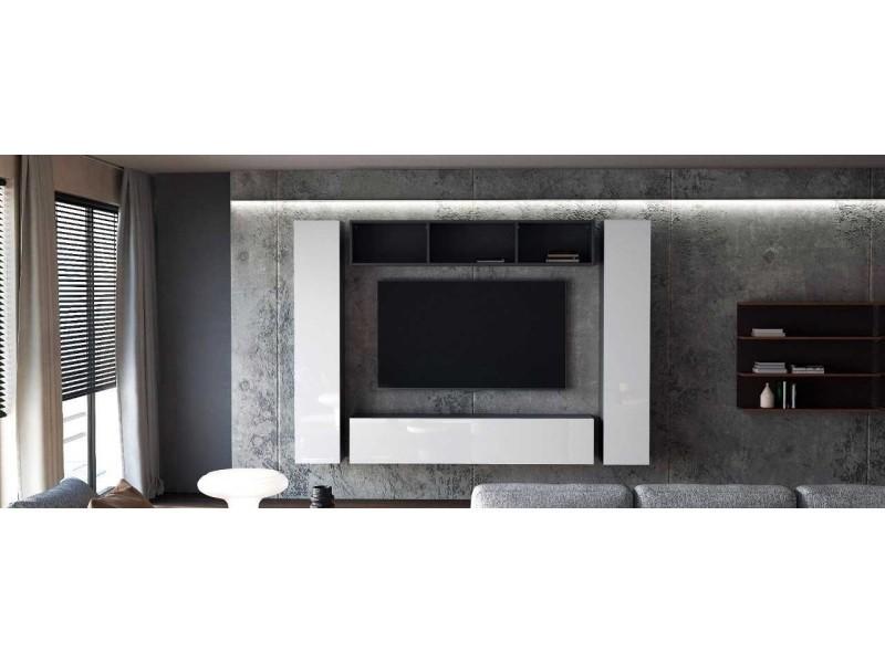 Ensemble de 4 meubles suspendus noir mat + blanc laqué