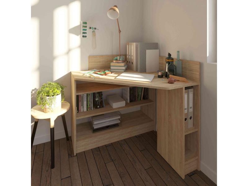 bureau d 39 angle en bois imitation naturel avec niche de. Black Bedroom Furniture Sets. Home Design Ideas