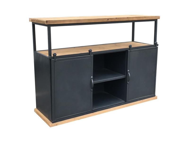 Table bahut console industriel à portes coulissante fer bois 120 cm x 87 cm x 38 cm