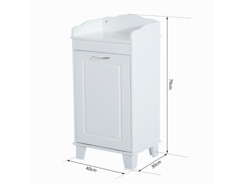 Meuble bas de salle de bain sur pied avec porte basculante for Meuble salle de bain avec bac a linge