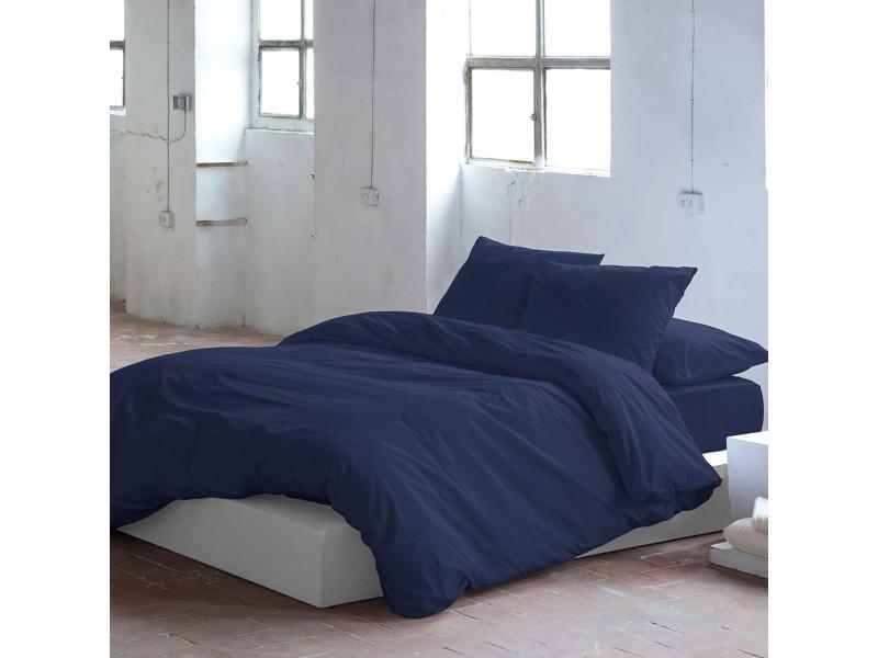 Housse de couette pure  140x200cm bleu marine 71173