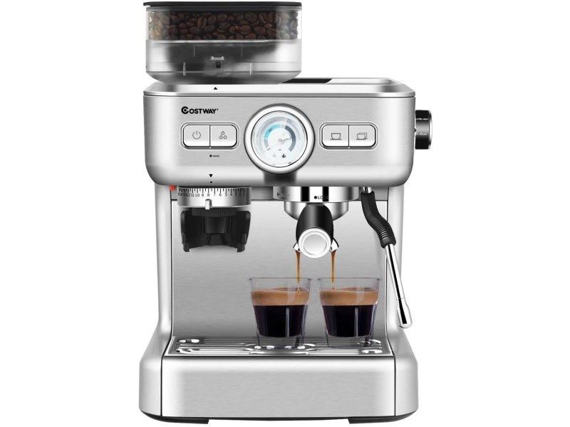 Giantex machine à café automatique avec broyeur - 30 niveaux de poudre de café réglables cafétière automatique 1350w température réglable accessoires complets pour maison,bureau,café