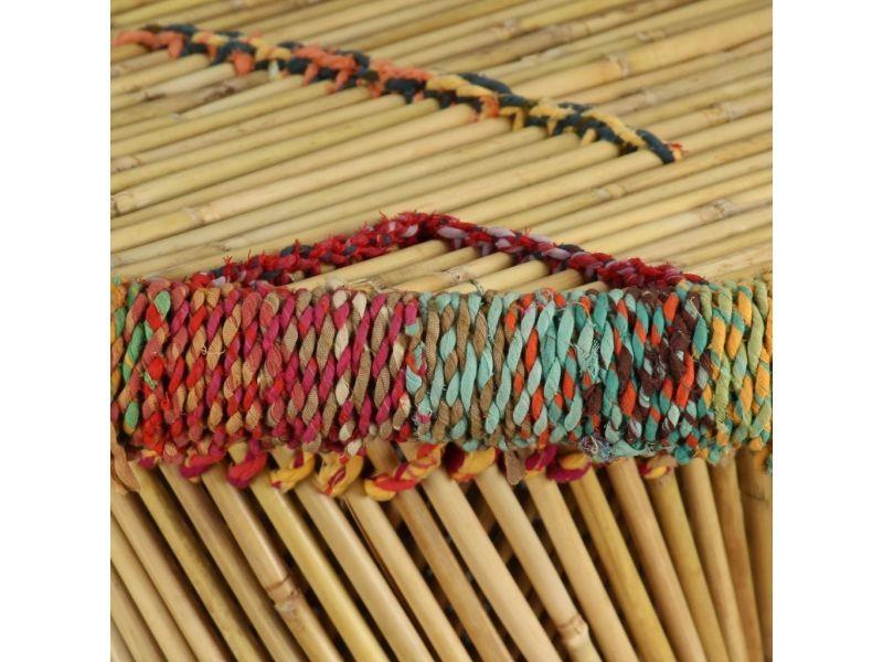 Vidaxl table basse bambou avec détails chindi multicolore 244214