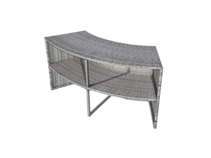 Double étagère pour spa gris résine tressée diamètre 180cm 4 places