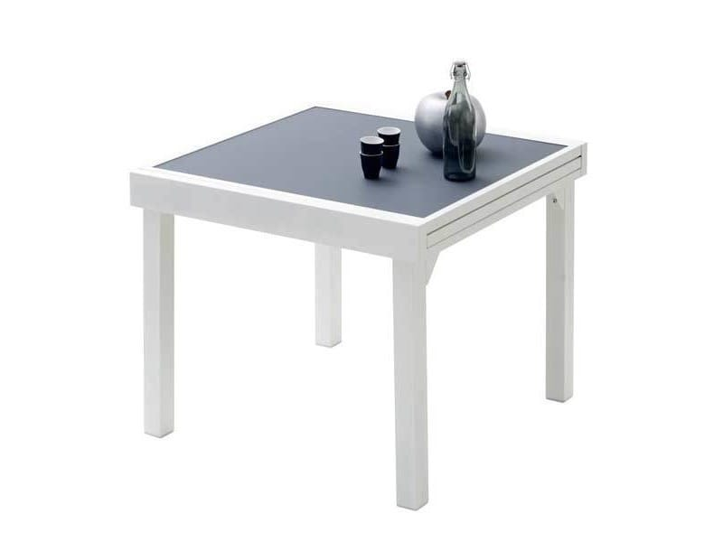 Table de jardin 90/180 modulo 8 places blanche/gris perle ...