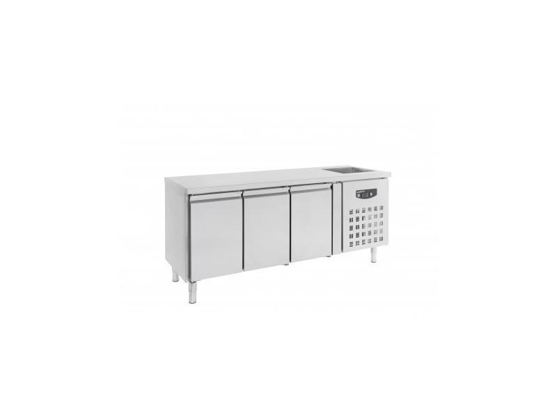 Table Refrigeree Positive Inox 3 Portes Gn1 1 Avec Evier