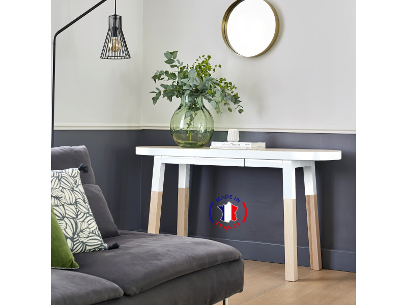 Console ovale 100% frêne massif 140x45 cm blanc balisson - 100% fabrication française