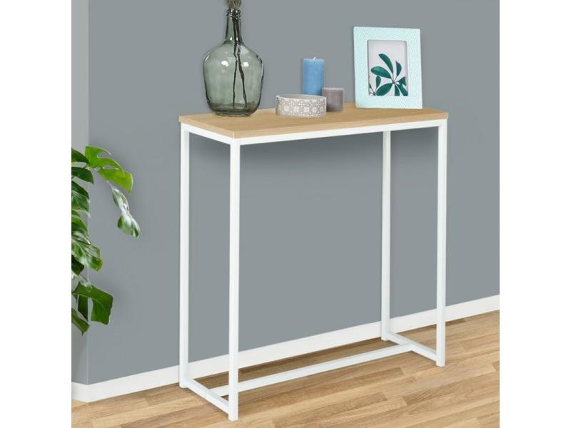 Console detroit design industriel bois et métal blanc