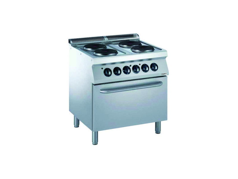 Cuisinière électrique pro 700 4 plaques rondes et four électrique 6 kw - combisteel -