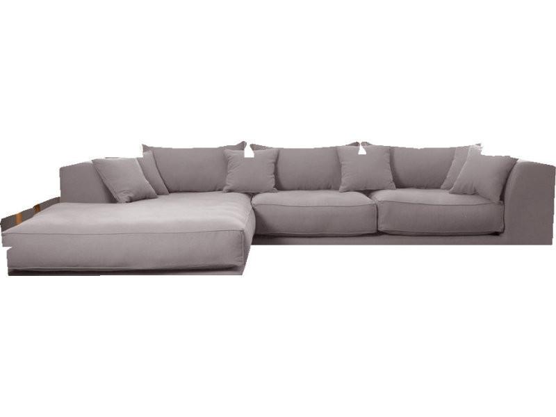 Canapé d'angle gauche 4 places en cotonlin gris clair avec ...
