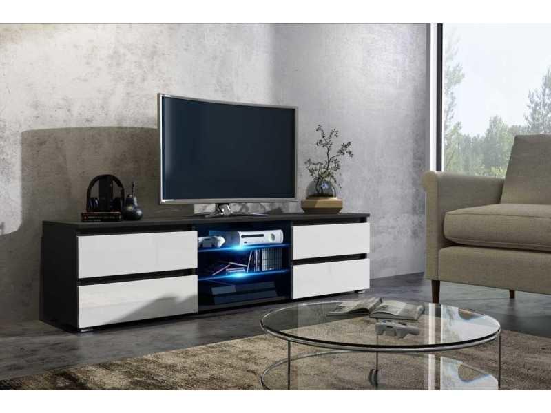 Meuble tv 150 cm noir mat / blanc laqué + led rgb