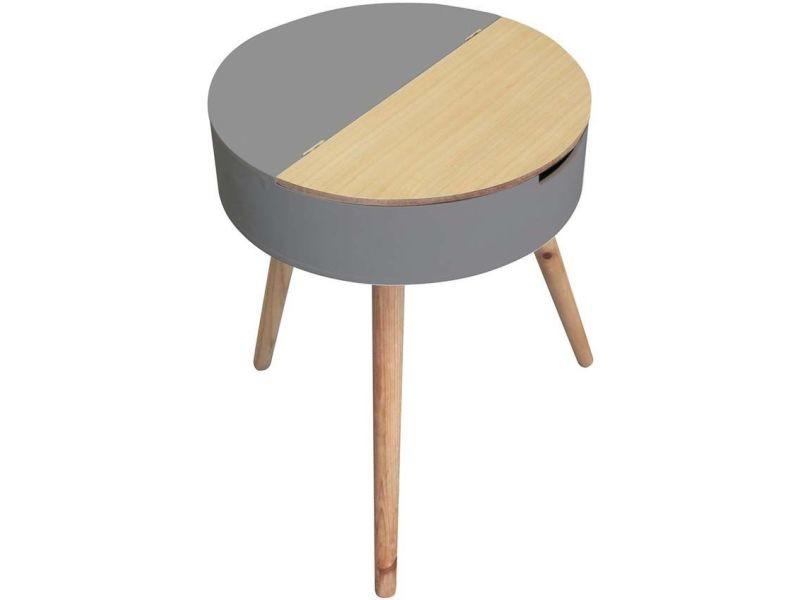 Table d'appoint ronde coffre intégré