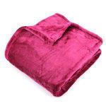 Plaid polaire 150x200 cm microvelours 100% polyester 320 g/m2 velvet rouge framboise