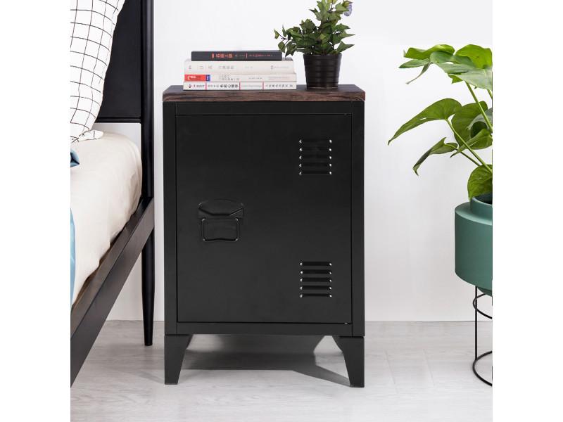 Chevet industriel bois et métal 1 porte noir