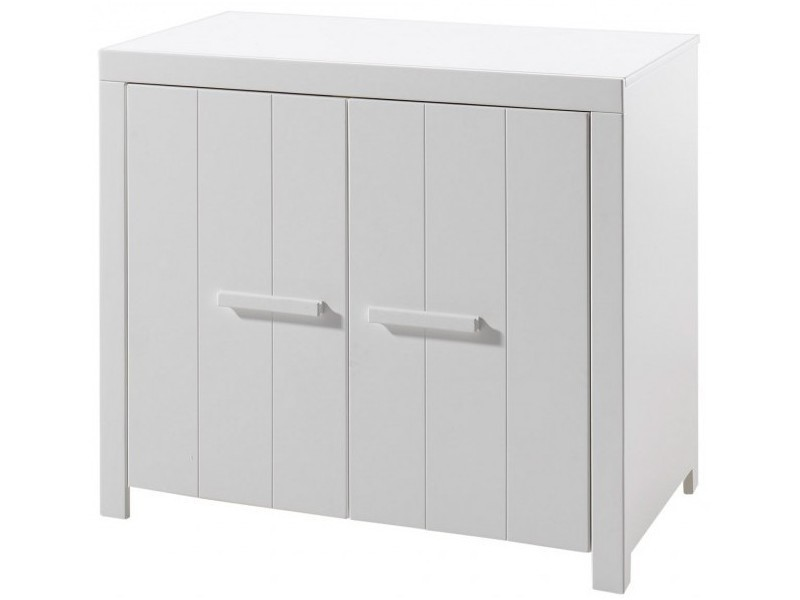 Vipack erik commode 2 portes pin massif laqué blanc ERKO1214