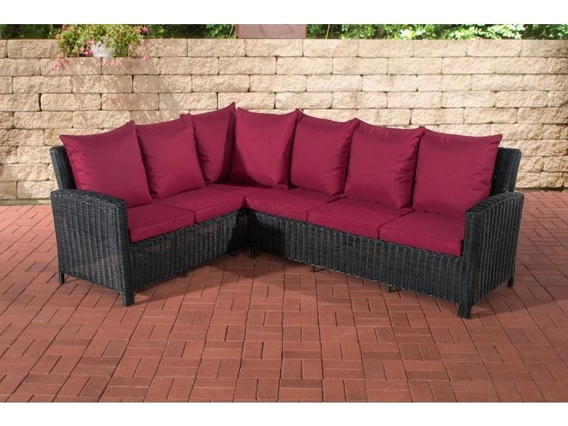 Canapé de jardin forme l bermeo 5 mm en polyrotin , noir /rouge rubis