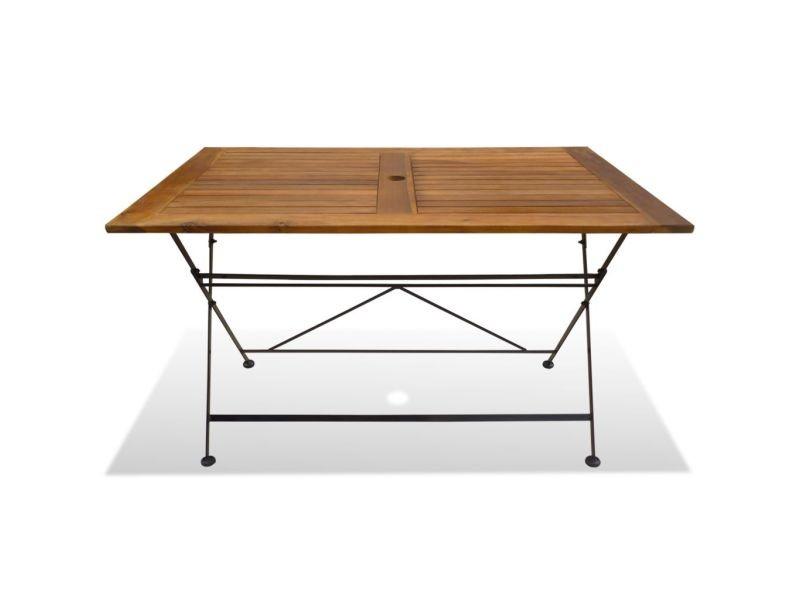 Icaverne - tables d'extérieur edition table pliable de jardin bois d'acacia 120 x 70 x 74 cm