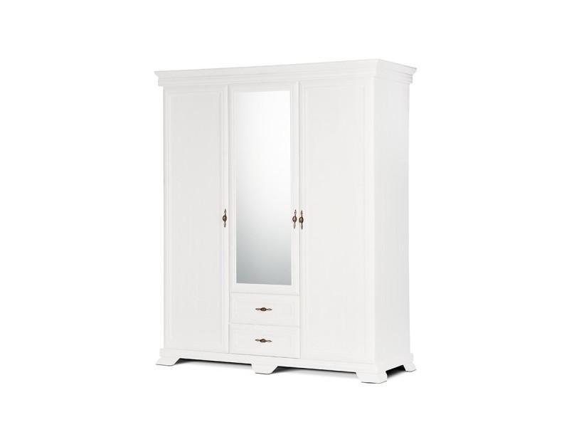 Imperio - grande armoire style classique chambre/dressing - 158x193x62 cm - 3 portes + grand miroir - penderie rangement - blanc