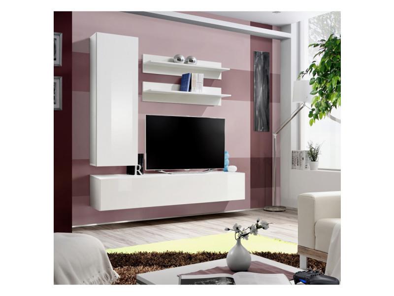 Ensemble meuble tv mural - fly i - 160 cm x 170 cm x 40 cm - blanc